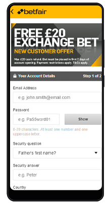 registration in the betfair mobile application for android