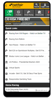 home in betfair mobile app for android
