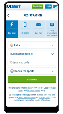 registration in 1xbet on android