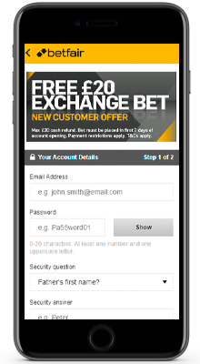 home in the betfair app on iphone