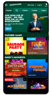 games in the paddy power mobile app for android