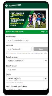 registration in the paddy power mobile app for android