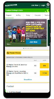 home in the paddy power mobile app on android