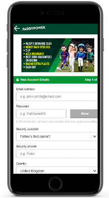 registration in the paddy power mobile app on iphone