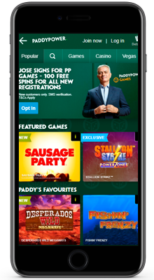 games in the paddy power mobile app on ios