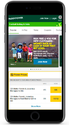 home in the paddy power mobile app on iphone