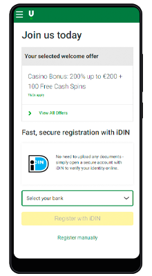 registration in the unibet mobile application for android